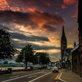 Inverness Riverside  by Gordon Bain - City,  Street & Park  Street Scenes ( dusk ., river ness, inverness )