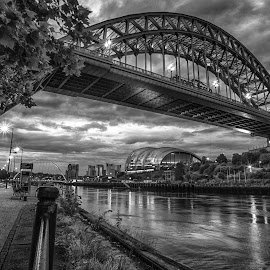 Friday Night On The Tyne by Adam Lang - Black & White Buildings & Architecture ( tyne, gateshead, newcastle, night, bridge, river )