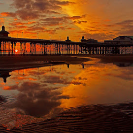 Blackpool sunset. by Bob Rawlinson - Buildings & Architecture Other Exteriors ( blk )
