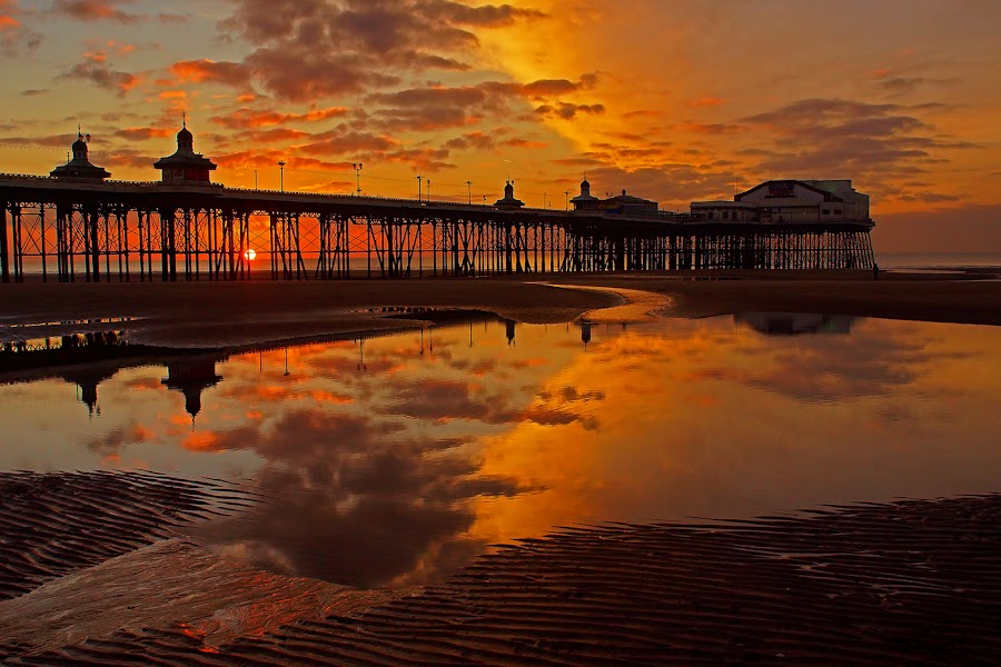 Blackpool sunset. by Bob Rawlinson - Buildings & Architecture Other Exteriors ( blk,  )