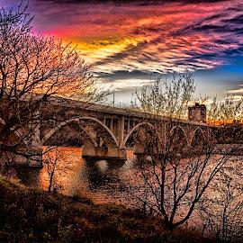 Morning Glow by Scott Hryciuk - Buildings & Architecture Bridges & Suspended Structures ( water, autumn, bridge, sunrise, morning, river )