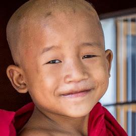 Novice Monk by Mark Prusiecki - Babies & Children Child Portraits ( myanmar, monk, buddhist, boy, travel photography )