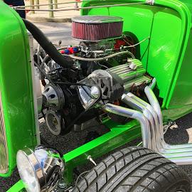 Green Street Rod by Barry Lehman - Transportation Automobiles ( engine, green, automobile, transportation )