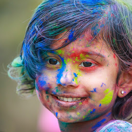 Colorful Smile by Rananjay Kumar - Babies & Children Child Portraits ( #beauty, #color, #cute, #girl, #smile, #holi, #canon )