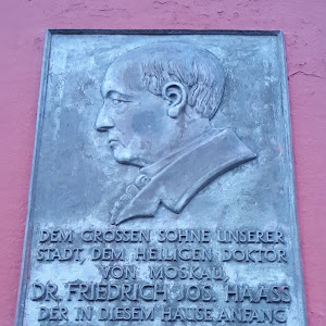 Honoring the memory of Dr. Friedrich Jos. Haass, the great son of our town, the holy doctor of Moscow, who was born in this house at the beginning of August 1780 as the son of the apothecary ...