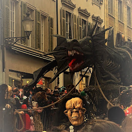 Dragon in Solothurn by Nele Hölzer - Instagram & Mobile Android ( confetti, carnival, street, dragon, city )