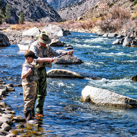 Next Generation by Chris Gunnell - People Family ( stream, waterscape, grandpa, landscape, grandson, river, fly fishing )