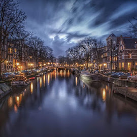 Amsterdam Lights by Adam Lang - City,  Street & Park  Vistas ( lights, canals, holland, reflections, night, amsterdam,  )