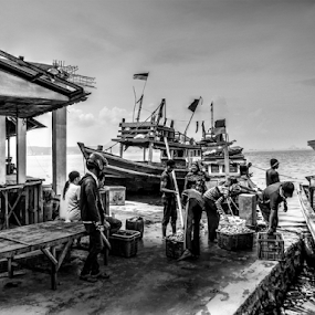 back home by Tonny Haryanto - Black & White Portraits & People ( water, work, lampung bay, black and white, sumatra, harbour, job, ocean, fishing, fishing boat )