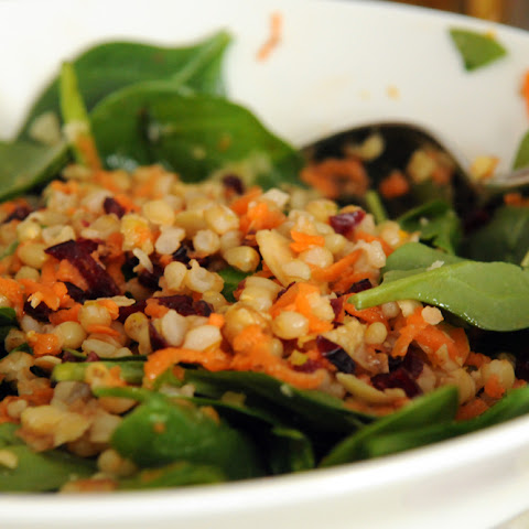 Wheat Berry Salad with Almonds and Spinach in a Citrus Dressing