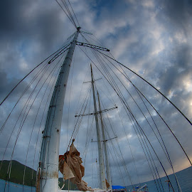 SV Mandalay by Tom Reiman - Transportation Boats ( mast, mandalay, sailing, tall ship, fish eye )