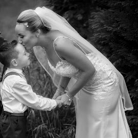 The Bride And Her Young Son  by Willie Forde - Wedding Bride ( love, kiss, ireland, wedding, bride )