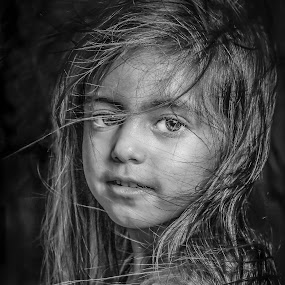by Nathalie Gemy - Babies & Children Child Portraits ( child, black and white, child portraiture, portrait, child girl )