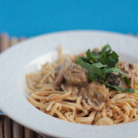 Whole Wheat Pasta with Mushrooms and Brats