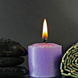 Spa by Dipali S - Artistic Objects Other Objects ( water, candle, purple, relax, mat, zen, drops, zen stones, relaxation, stones, spa )