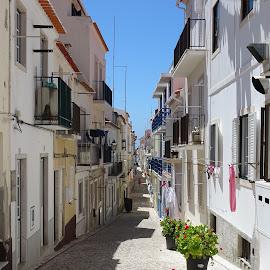 Sub-vila by Ana Neves - City,  Street & Park  Neighborhoods ( blue, street, windows, portugal, sun )