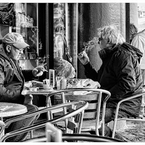 Smoke Break by Jon Hunter - People Street & Candids ( cigarette, cold, chairs, black and white, smoking, street, candid )