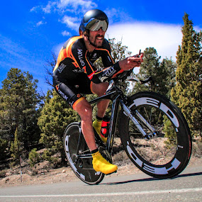 Time Trial Tuck by Jay Woolwine Photography - Sports & Fitness Cycling ( cyclist, bicycle racer, redlands bicycle classic, time trial, bicycle racing, bike racer, bike racing )