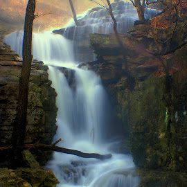 MORNING  GLOW by Dana Johnson - Landscapes Waterscapes ( dawn, waterfalls, waterscape, cascade, falls, morning, landscape )