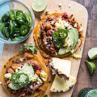 Chipotle Pineapple Chicken Tinga Quesadilla Tostadas with Tequila Lime Pickled Jalapeño's.