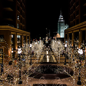 City Creek lights by Kyley Hansen - Public Holidays Christmas ( lights, winter, cold, joy, snow, christmas, happiness )