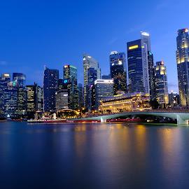 Blue hours @ Singapore.. by Hery Sulistianto - City,  Street & Park  Skylines (  )