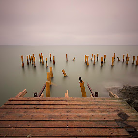 Old pier by Ömür Kahveci - Landscapes Waterscapes ( pier, seascape, longexposure )