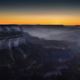 Grand Canyon at twilight.  by RicardMN Photography - Landscapes Mountains & Hills ( america, grandcanyon, rock, travel, colorado plateau, landscape, usa, photography, grand canyon, geology, decor, sky, blue sky, nature, erode, arizona, west america, prints, rocks, geological, office, clouds, ricardmn photography, twilight, colorado, canyon, us, waiting room, depth, united states, colorado river, red, blue, sunset, poster, gran canon, cloud, night, hotel, landscapes )