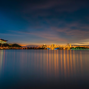 Sunset @ Putrajaya Main Dam by Zack Zaidi - Landscapes Sunsets & Sunrises ( picc, waterscape, putrajaya, sunset, malaysia, golden hour )