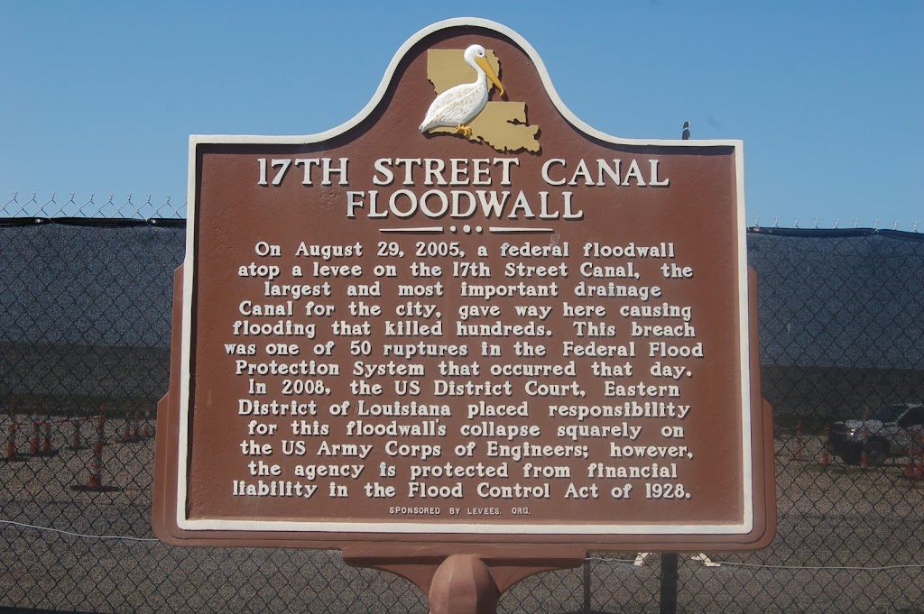 On August 29, 2005, a federal floodwall atop a levee on the 17th Street Canal, the largest and most important drainage Canal for the city, gave way here causing flooding that killed hundreds. This ...