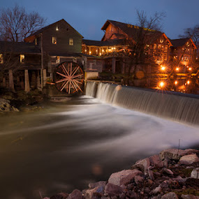The Old Mill by John Edwin May - Travel Locations Landmarks ( pigeon forge_tn, night, , city at night, street at night, park at night, nightlife, night life, nighttime in the city )