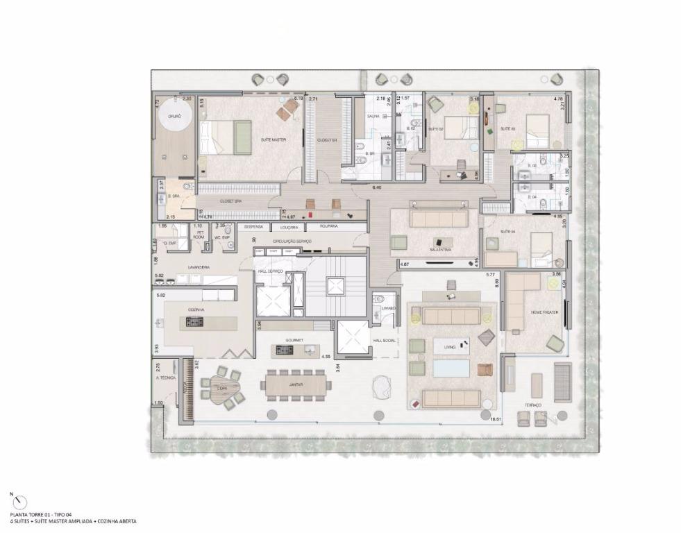 Planta Opção - 4 Suítes Máster Ampliada e Cozinha Aberta - 549 m²