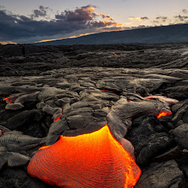 Incoming Lava  by Jared Goodwin - Landscapes Caves & Formations ( travel, volcanic, landscape, sun, sky, volcano, sunny, sunsets, cloudy, sunshine, long exposure, hawaii, golden hour, clouds, cloudscape, tourism, paradise, national park, lava, national geographic, sunset, volcanoes, cloud, sunrise, landscapes, slow shutter, filters, world )