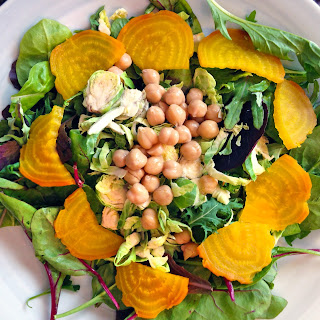 Roasted Golden Beet Salad with Chickpeas + Brussel Sprouts