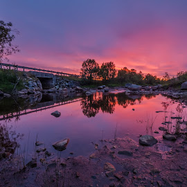 River and sunset by Benny Høynes - Landscapes Sunsets & Sunrises ( water, sunset, norway, colours, river )
