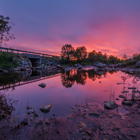 River and sunset by Benny Høynes - Landscapes Sunsets & Sunrises ( water, sunset, norway, colours, river,  )