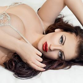 Emmy by Kerri Jean - Nudes & Boudoir Boudoir ( emmy, rhinestones, boudoir, long hair, bed, knewherwhen, red lips, adult, beauty, emmy elle, glamor, bling, glamour, sexy, woman, composition, blue eyes, knew her when, hotel, brunette )