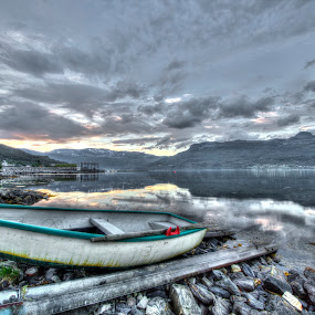 Boat by Benny Høynes - Transportation Boats ( clouds, hdr, sea, boat, norway )