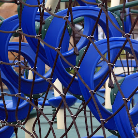 Blue Playground by Alex Heimberger - Abstract Patterns ( playground, blue, pwclines, ropes )
