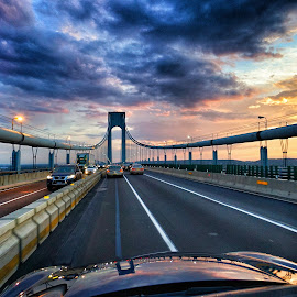 Bridge Sunset by Nicholas Mundy - Landscapes Sunsets & Sunrises ( sunset, nyc, bridge )