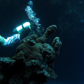 diver in cave by AB Rossouw - Nature Up Close Water ( diver, scuba, cave diving )