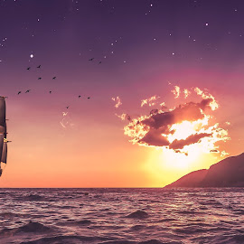 Brilliant Sunset by Indrit Skëndaj - Digital Art Places ( moon, red clouds, red sky, ship, twilight, orange sky, sail boat, dusk, milky way, dawn, sunset, stars, sundown, sunrise )