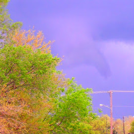 Funnel Cloud Over The City by Vince Scaglione - Landscapes Weather ( funnel cloud, weather, storm, tornado, city, wicked )