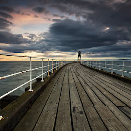 by Martin West - Landscapes Sunsets & Sunrises ( clouds, north yorkshire, sea, pier, whitby, sunrise )
