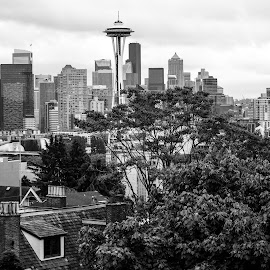 The Grunge Capital by Ally Skiba - City,  Street & Park  Skylines ( urban, washington, grunge, black and white, seattle, cityscape )