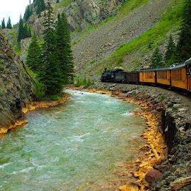 DURANGO TO SILVERTON RAILROAD by Gerry Slabaugh - Transportation Trains ( durango to silverton railroad, railroad, colorado, rockies, historic, narrow guage )
