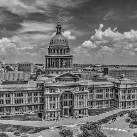 Texas State Capitol Building by Marc Mulkey - Buildings & Architecture Public & Historical ( austin, black and white, texas, aerial, capitol, granite )