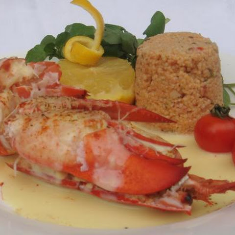 Lobster and Spicy Red Pepper Couscous Hollandaise
