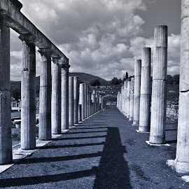 by Stavros Argyropoulos - Buildings & Architecture Statues & Monuments ( old, ithomi, b&w, messinia, black and white, greece, ancient messini, columns, historic, nikon d90, history, ancient, 18-105vr, classical, civilization, peloponnese, μεσσηνια, ελλαδα, culture )