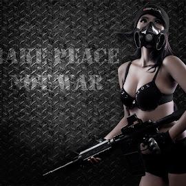 MAKE LOVE NOT WAR by Arief Tresno - People Fashion ( soldier, model, sexy, digital manipulation, bandung )